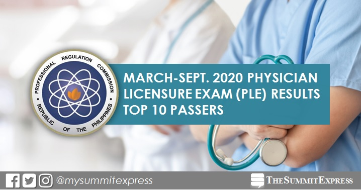 PLE RESULT: March- September 2020 Physician board exam top 10 passers
