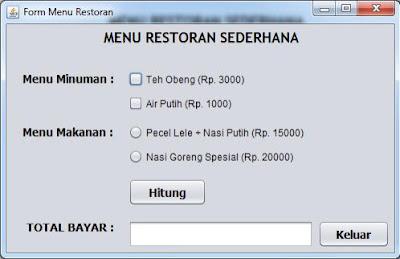 Contoh Program Kasir Restoran Menggunakan Java