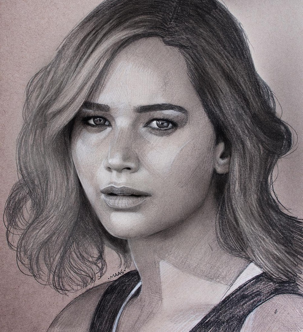 03-Jennifer-Lawrence-Justin-Maas-Pastel-Charcoal-and-Graphite-Celebrity-Portraits-www-designstack-co