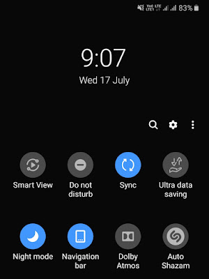 Enable night mode from notification panel