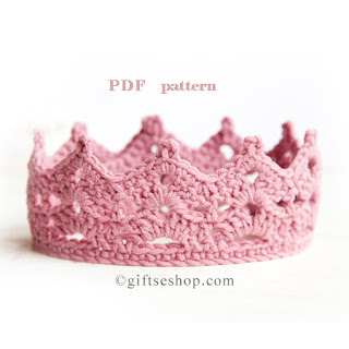Pink Crochet Baby Crown