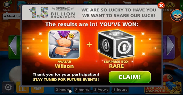 8 ball pool Free Avatar Wilson and Free Box