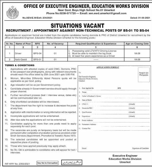 Driver & Naib Qasid Jobs 2021 Sindh