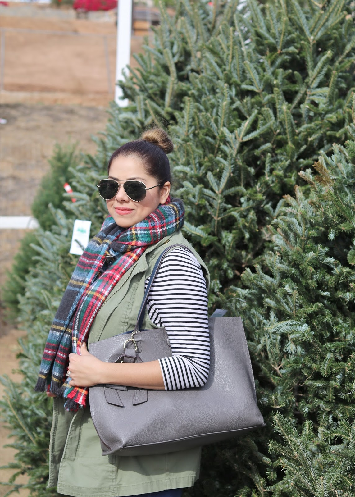 Casual Christmas Outfit, plaid and stripes, plaid and utility vest, women's Christmas Outfit