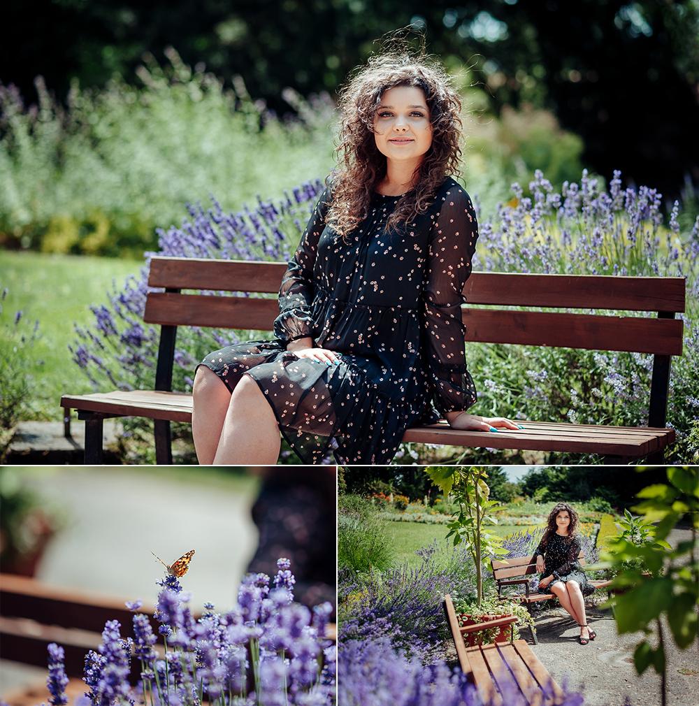 kobieta, ogród botaniczny, Lublin, fotograf, lawenda, motyl