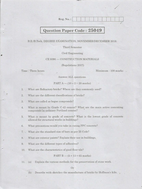 CE8391 Construction Materials Nov Dec 2018 Question Paper
