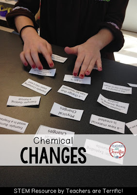 Chemical changes: Vocabulary sorting to determine the difference between physical and chemical changes! Check this blog post for details!