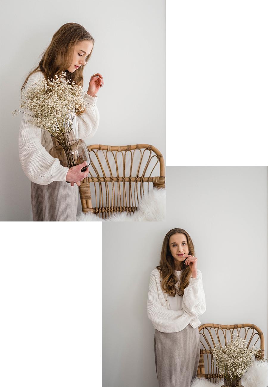 Kevään tyyli-inspiraatio: beige neulehame // Spring outfit inspiration: beige knitted skirt