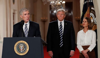 Supreme Court (left) Justice Neil M. Gorsuch and President Donald Trump
