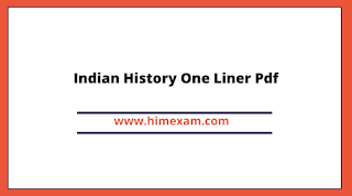 Indian History One Liner Pdf