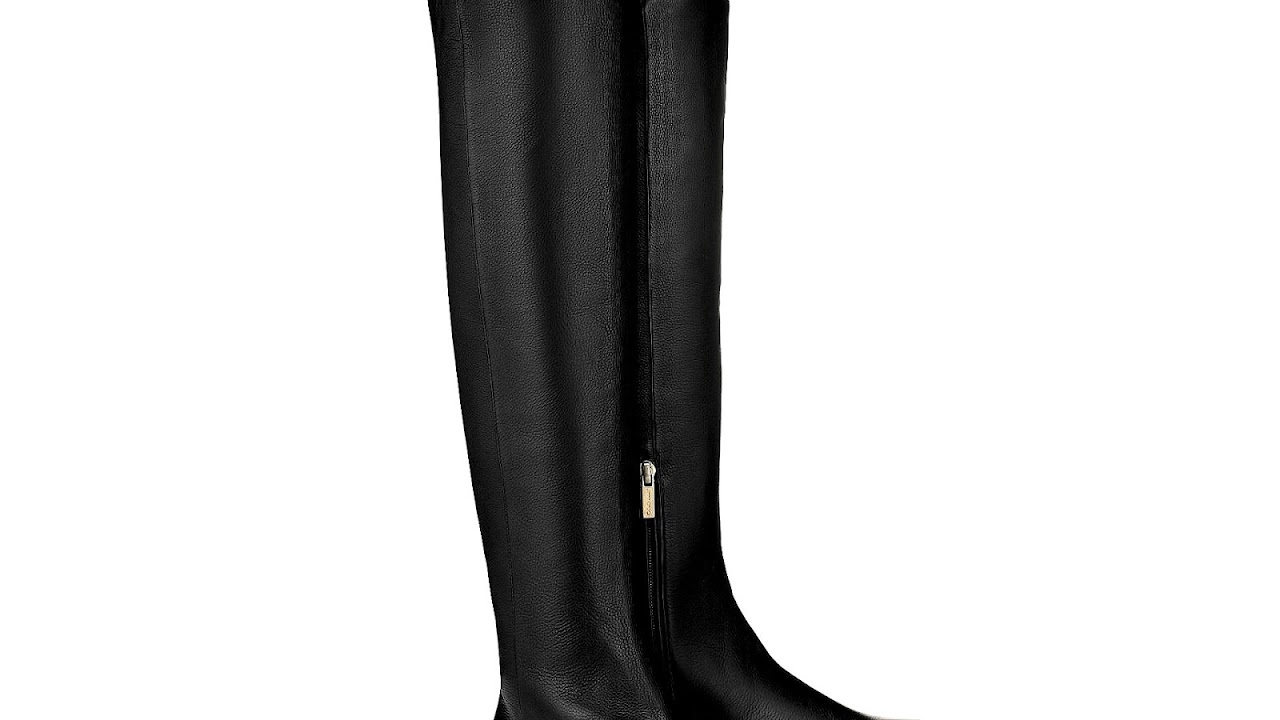 006ceacd6784 Black Leather Over The Knee Boots Flat - Knee Choices