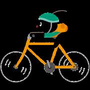 自転車に乗るぴょこのイラスト