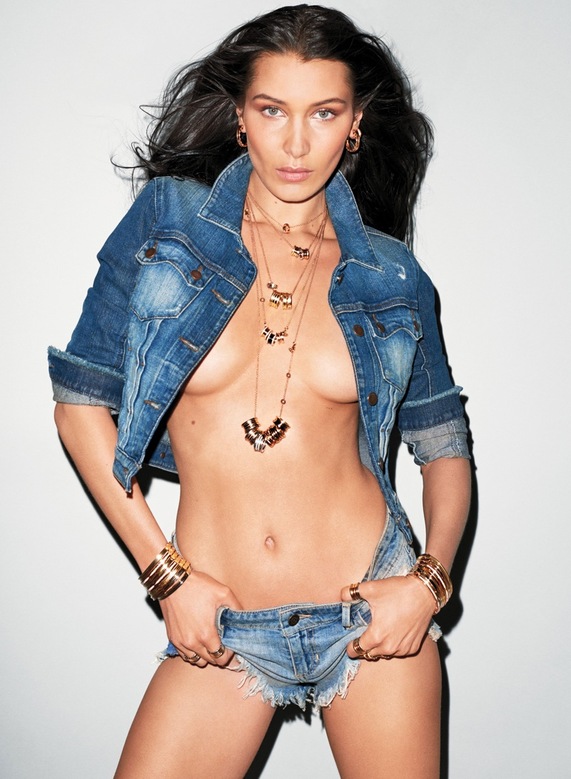 Bella Hadid Poses in Denim & Diamonds for Sexy V Magazine Shoot
