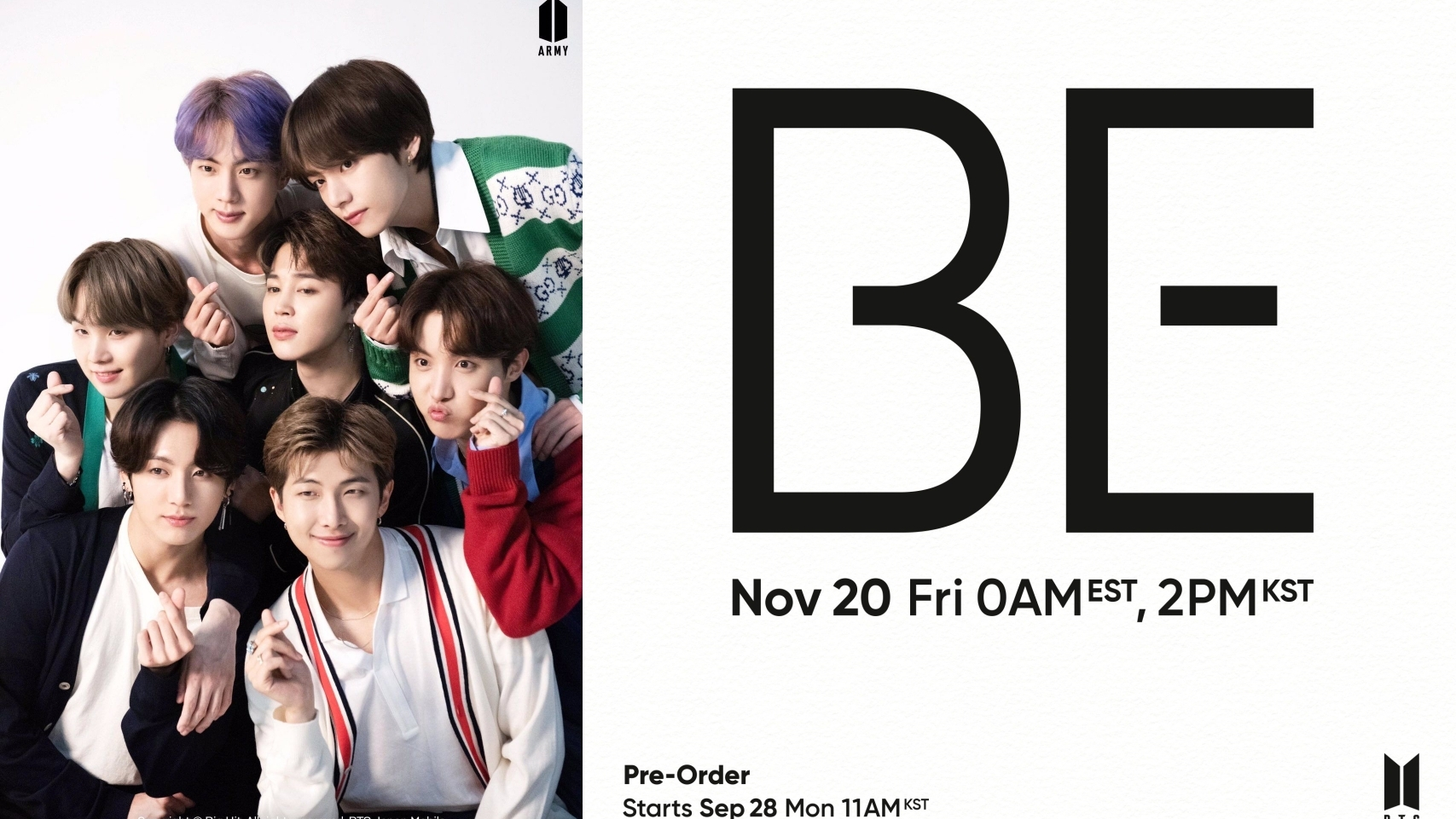 Big Hit Announces BTS Comeback in November With Album 'BE'