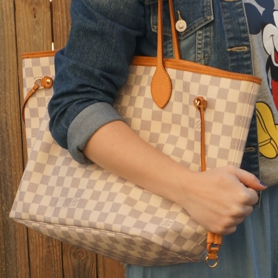 Louis Vuitton MM neverfull tote bag damier azur | awayfromtheblue