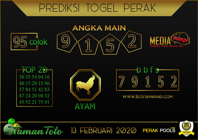 Prediksi Togel PERAK TAMAN TOTO 13 FEBRUARY 2020