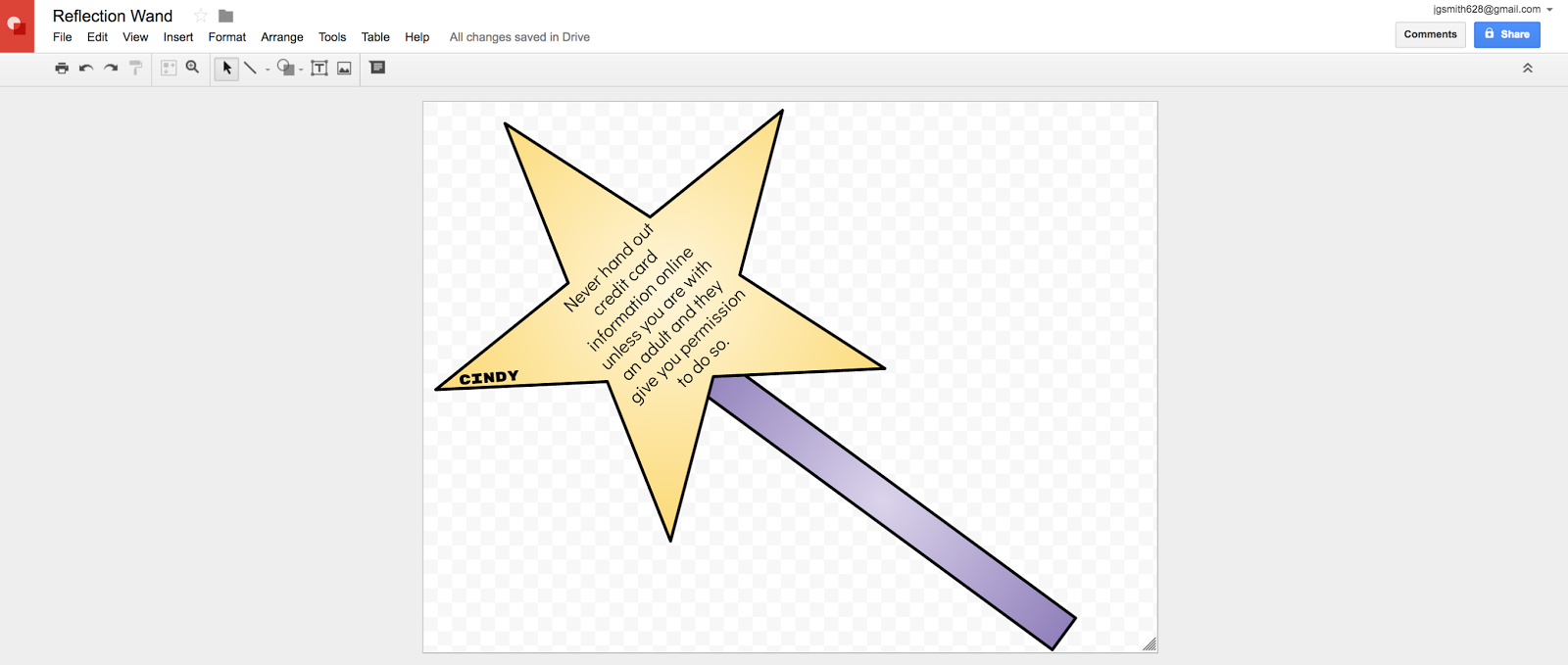 Fairy Tales: Create a Reflection Wand in a drawing or paint program like Google Drawing.