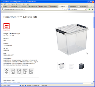 50 liter, lite högre modell, Plastlåda med lock som spännes fast. Genomskinlig gör det lätt att se innehåll!