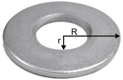 À temperatura de 20 ºC, uma arruela (disco metálico com um orifício central) tem raio externo R e raio interno r