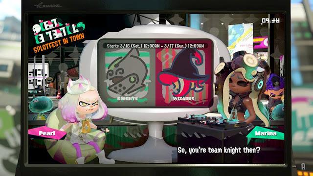 Splatoon 2 Splafest Knights vs. Wizards Marina asking Pearl if she is team knight