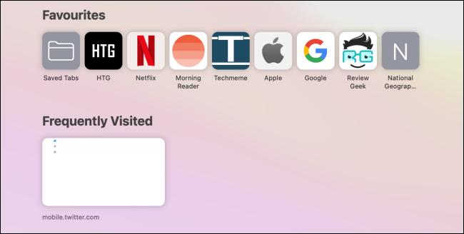 المفضلة والأقسام التي تتم زيارتها بشكل متكرر في صفحة بدء Safari