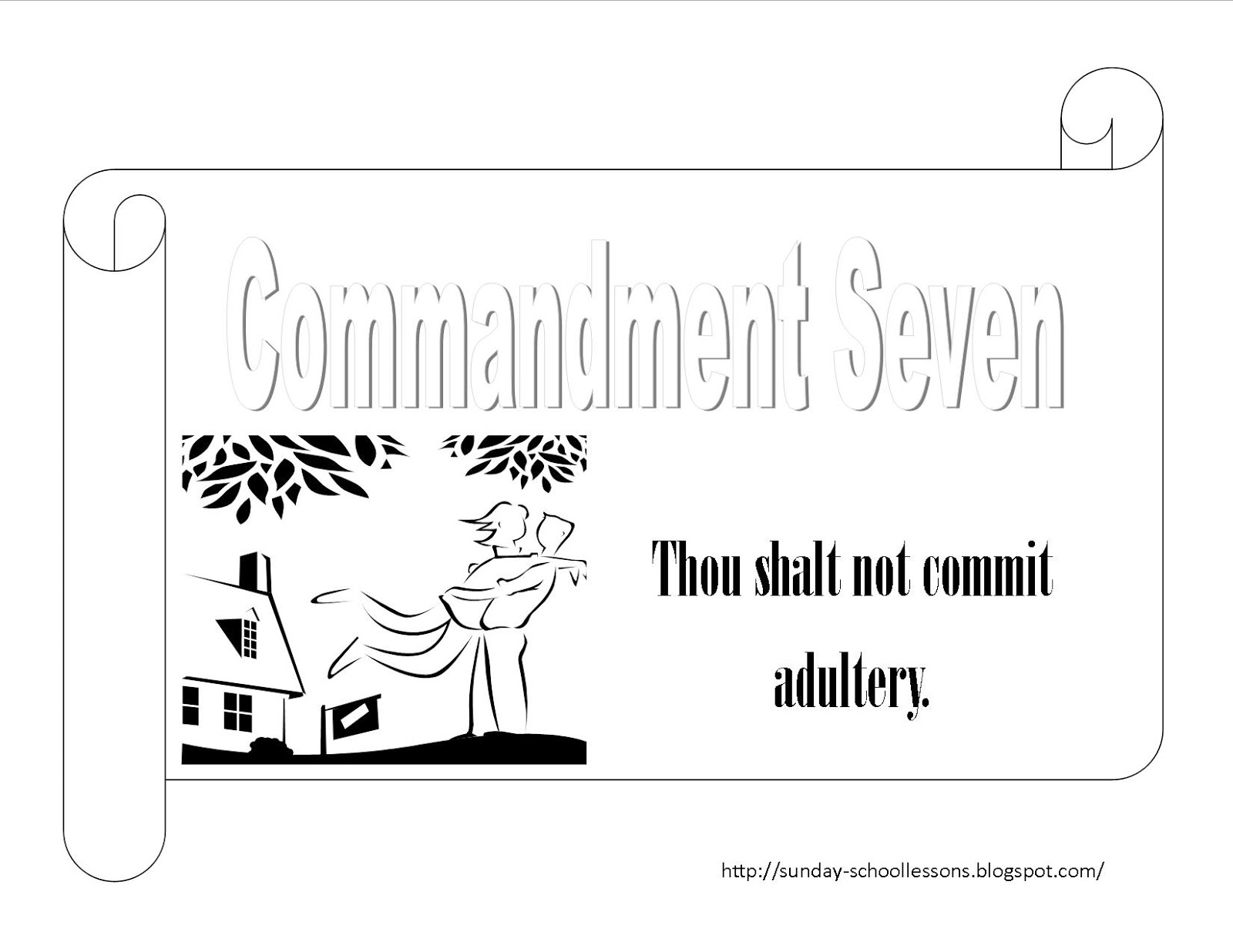 ten commandments for kids coloring pages - 10 commandments coloring page numbers seven and eight