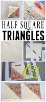 collage of pictures depicting how to sew a half square triangle