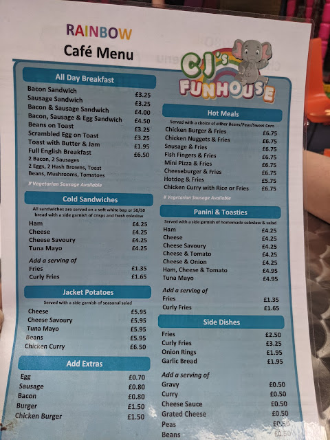 CJ's Funhouse   Cramlington Soft Play Review - menu