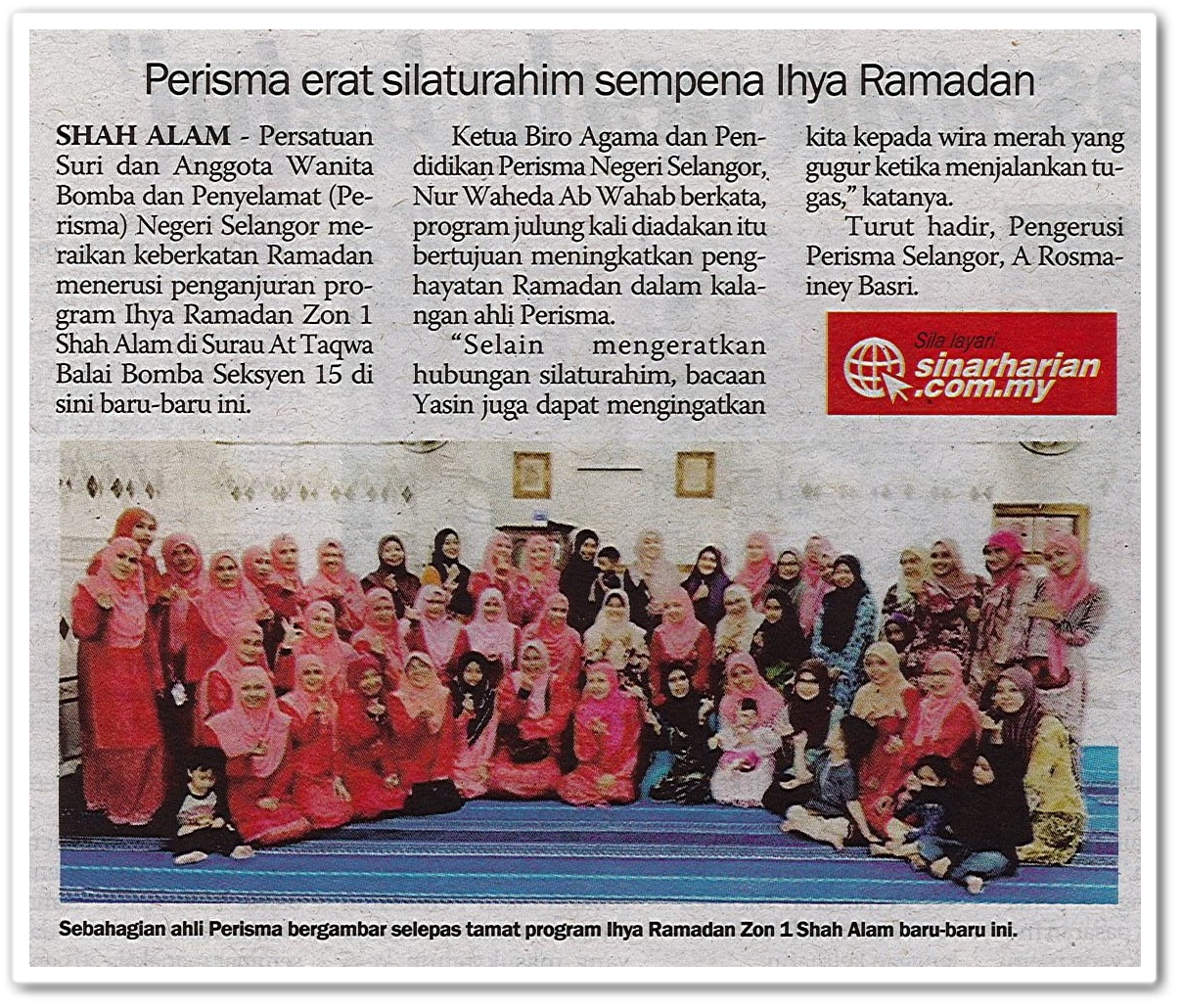 Perisma erat silaturahim sempena Ihya Ramadan - Keratan akhbar Sinar Harian 25 Mei 2019