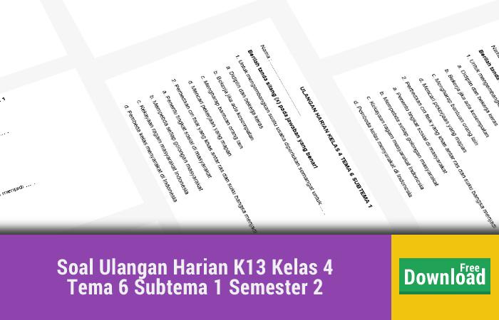 Soal Ulangan Harian K13 Kelas 4 Tema 6 Subtema 1 Semester 2