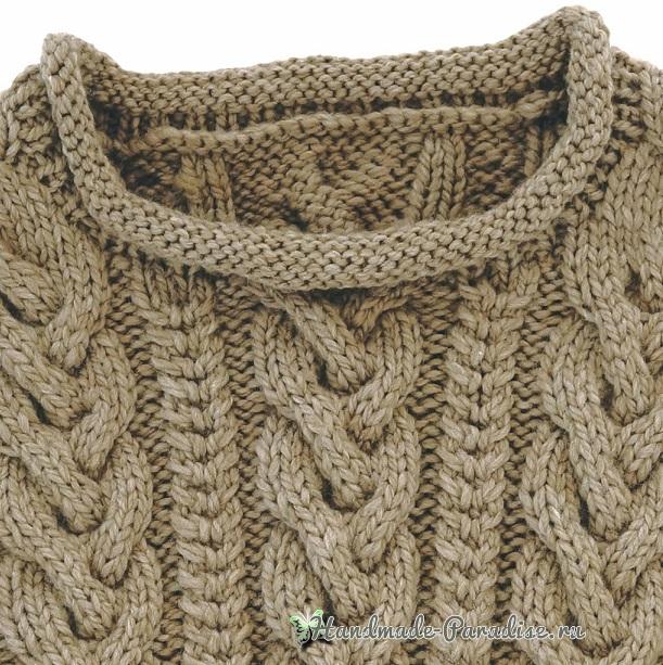 Схемы вязания спицами пуловера с большими косами (4)