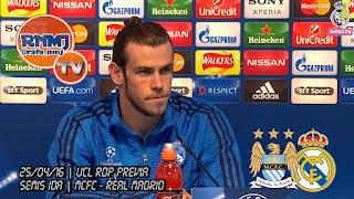 Gareth Bale comparece en la rueda de prensa previa al Manchester City -. Real Madrid de Champions League