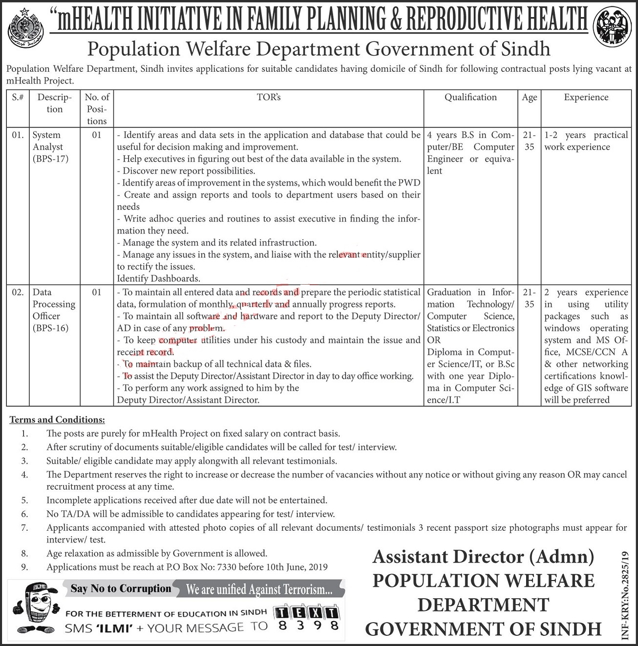Population Welfare Department Jobs 2019 - Sindh Jobs