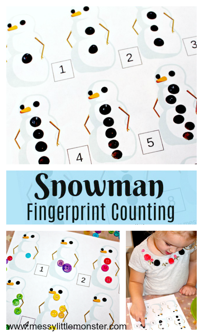 printable snowman counting activity. A fun fingerprint counting idea for toddlers and preschoolers working on early counting and number recognition. Great for a snowman, winter or Christmas project.