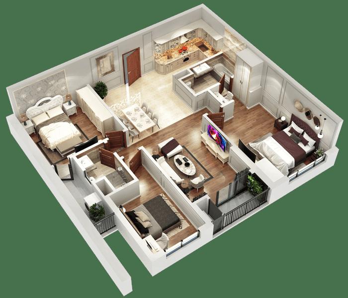 Mặt bằng 3D căn hộ 06 và 11 tòa Sapphire 2