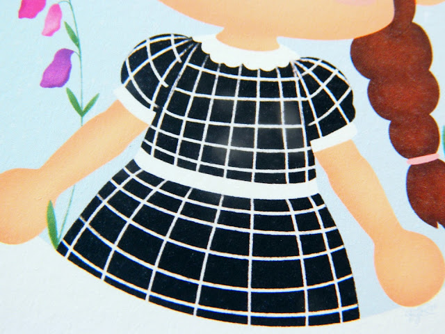 A photo of a painting showing a black and white gingham dress painted in Animal Crossing (a game) style