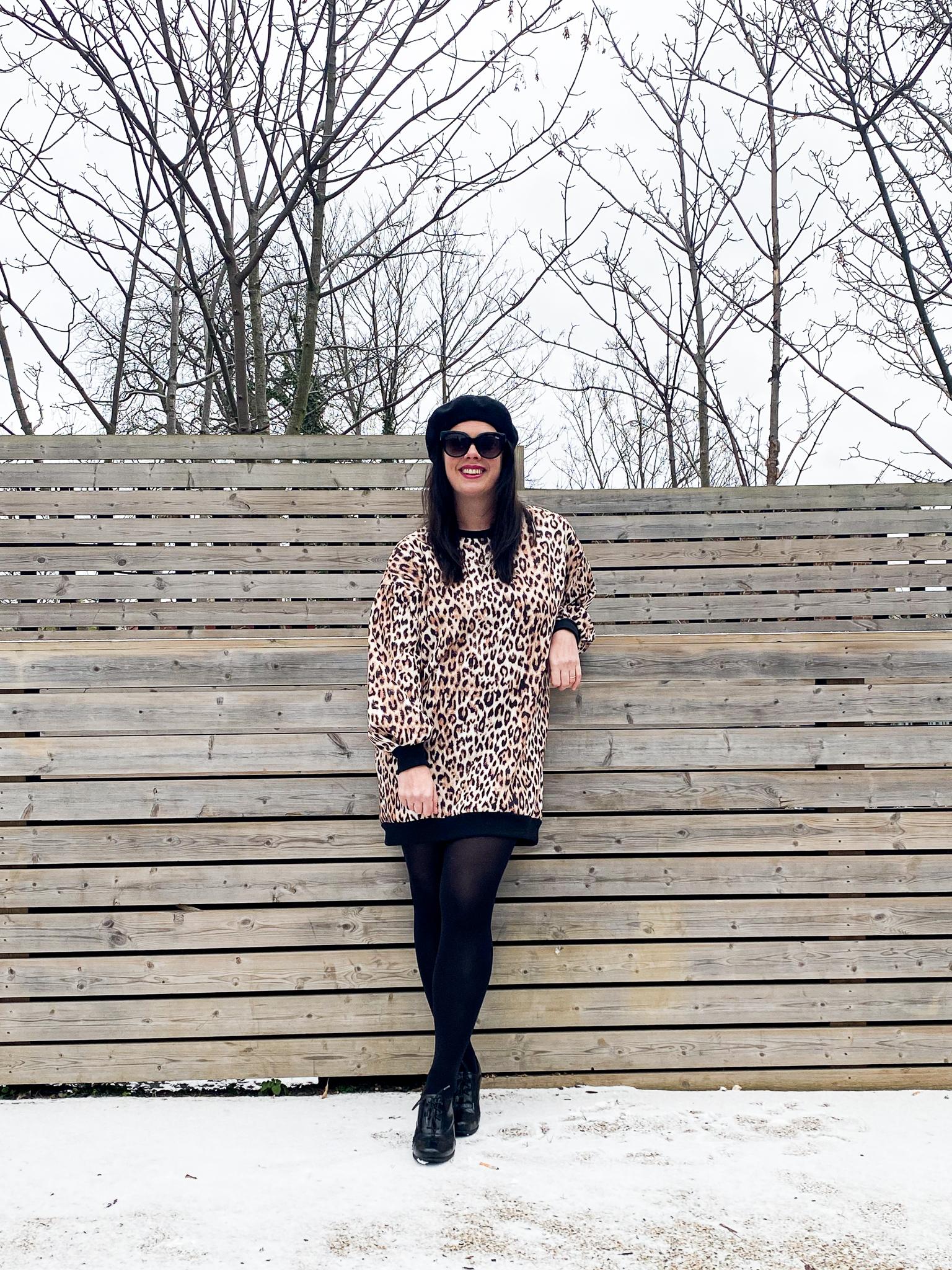 Leopard Print Sweat Dress