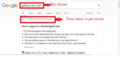 keywords, keyphrase and time taken to get search result