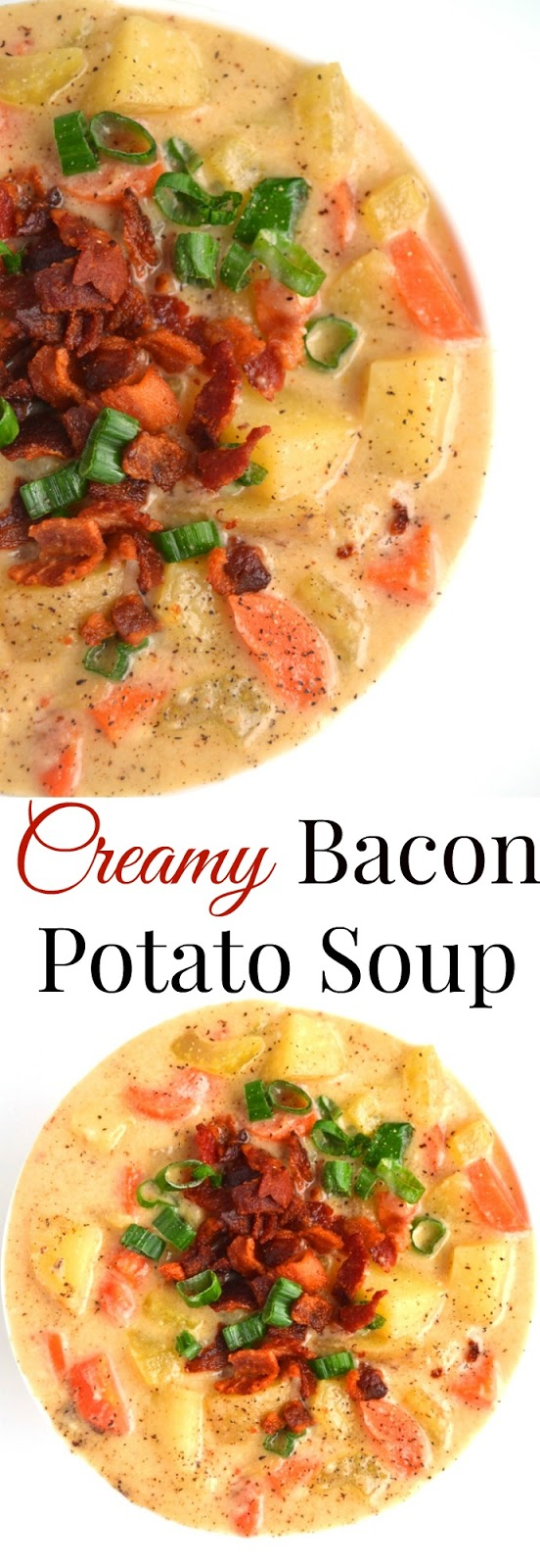 Creamy Bacon Potato Soup is tasty with flavors of bacon, cheddar cheese, green onions, carrots and celery. Made lighter with milk instead of cream and Greek yogurt for a hearty yet nutritious meal! www.nutritionistreviews.com