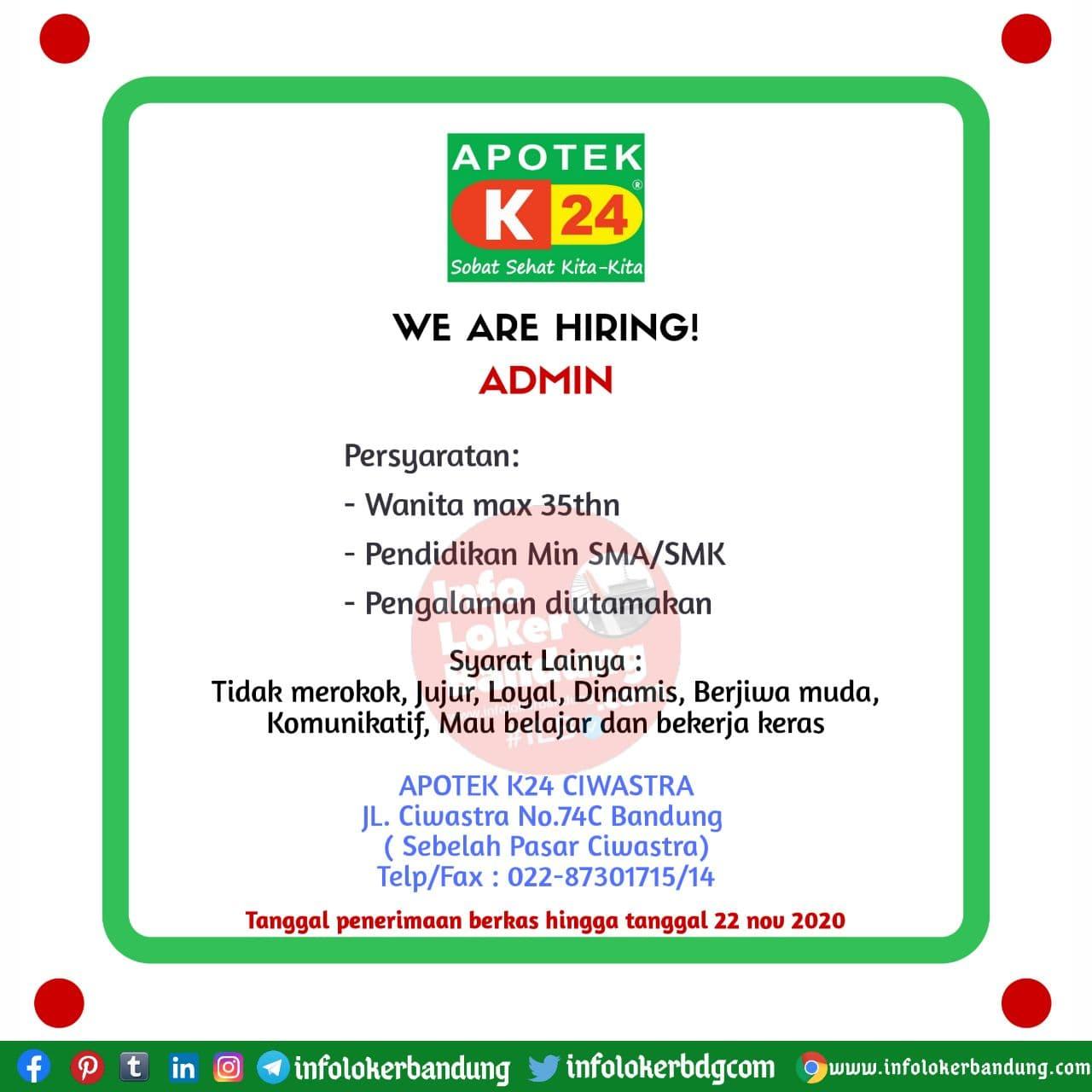 Lowongan Kerja Admin Apotek K24 Bandung November 2020