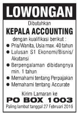 Lowongan Kerja KEPALA ACCOUNTING Lampung
