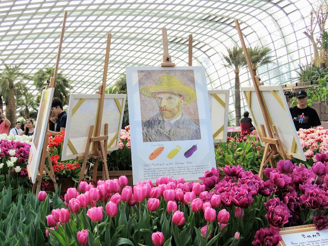 van Gogh tulip display at Gardens by the Bay in Singapore