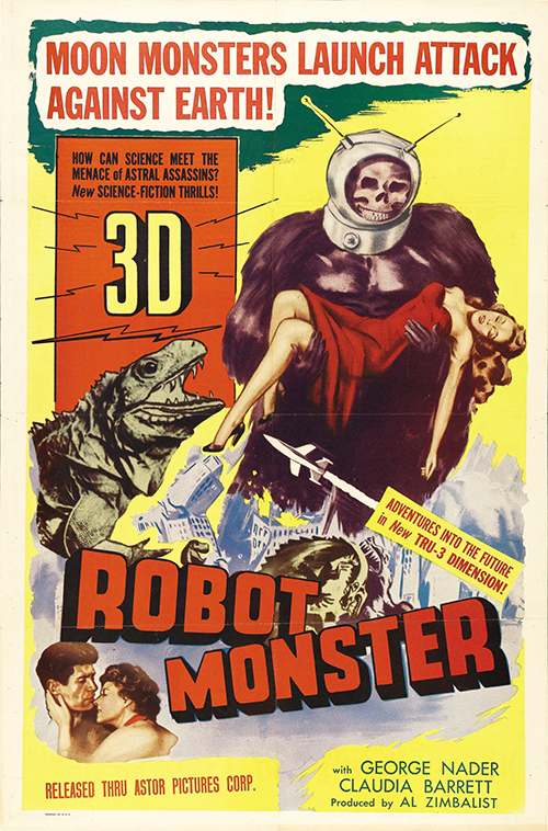Robot Monster - Vintage Sci-Fi Horror Movie Poster, classic posters, free download, free posters, free printable, graphic design, movies, printables, retro prints, theater, vintage, vintage posters, vintage printables