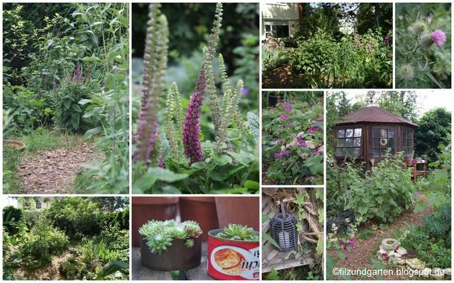 Gartencollage Deko im naturnahen Garten
