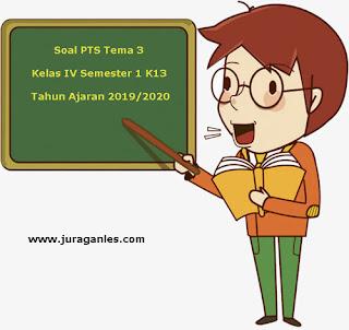 Berikut ini adalah contoh latihan Soal PTS  Soal PTS / UTS Tema 3 Kelas 4 Semester 1 K13 Tahun 2019/2020