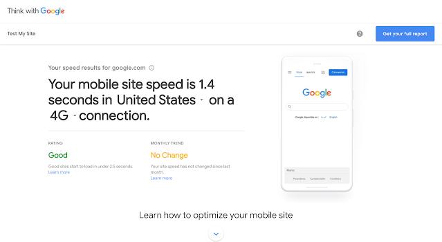 لقطة شاشة من الصّفحة الرئيسية لأداة اختبار سرعة الموقع الإلكتروني
