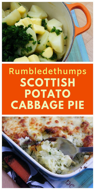 Rumbledethumps or Scottish Potato & Cabbage Pie. A traditional Scottish dish made of potatoes, cabbage and onion, topped with cheese and baked in the oven. #rumbledethumps #potatopie #burnsnight #scottishrecipes #cabbagepie #potatoes #cabbage #vegetarianpie #pie
