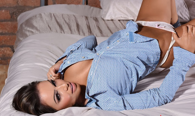 Gemma Massey blue shirt white lingerie striptease picture gallery