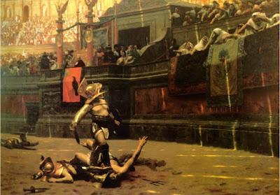 Un gladiador se dirige al emperador, para que decida la suerte del guerrero vencido