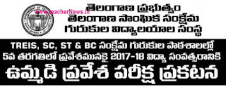 TGCET 2017 for TS Gurukulam / Residential Schools 5th Class Admission